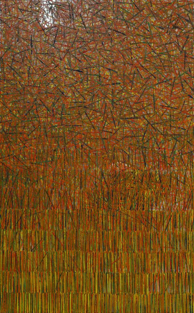 Struktur 25, Öl auf Spiegel, 96 cm x 60 cm, 2019